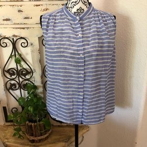 J. Crew sheer blue and white striped top